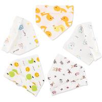 夏季儿童棉口水巾宝宝围嘴四层按扣春夏秋5条装 婴儿纱布三角巾