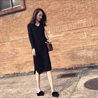 秋冬打底裙子女2018修身领过膝毛衣裙长袖中长款内搭针织连衣裙 黑色
