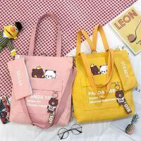 韩国补习袋小学生美术袋儿童包包单肩斜挎包女童休闲补课手提袋M