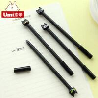 UMI创意日韩文具 卡通可爱0.5黑猫中性笔 水笔签字笔学习文具办公