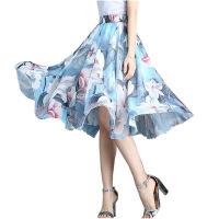 印花中长裙雪纺半身裙夏季新款高腰a字裙大摆裙松紧腰仙女裙 均码75-145
