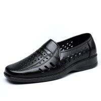 夏季男士黑色正装凉皮鞋透气洞洞镂空皮凉鞋中老年爸爸工作鞋