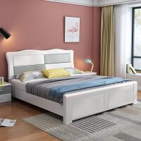 主卧白色实木床双人床中式高箱储物 实木床1.8米现代简约次卧1.5m +2个床头柜 1800mm*2000mm 箱框结