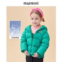 MQD童装女小童短款连帽羽绒服2020冬装新款保暖儿童花边外套潮