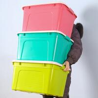 收纳箱塑料特大号三件套有盖衣服储蓄储物盒玩具整理箱子 小号35L 三个装【40*31*23cm】