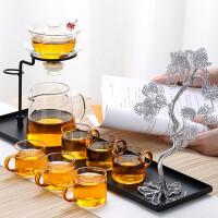 唐丰玻璃懒人功夫茶具半全自动石磨套装简约蓄水底架日式小套家用