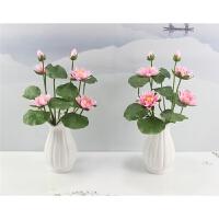 仿真荷花莲花供佛用品塑料假花绢花小盆栽家居装饰花小摆件