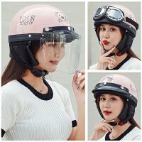 摩托车头盔男电动车头盔女可爱哈雷头盔安全帽夏季半盔半覆式