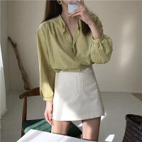 春季韩国女装气质显瘦长袖衬衫时尚套装+高腰短裙A字半身裙两件套