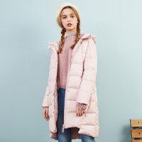 美特斯邦威羽绒服女长款2017冬装新款连帽保暖面包服显瘦韩版潮
