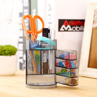 得力四层笔筒906 塑料办公家用收纳盒 多功能透明铅笔筒 教师礼物