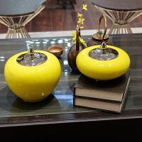 简约现代中式黄色陶瓷家装摆件客厅玄关饰品电视柜架子装饰工艺品创意家居装饰摆件