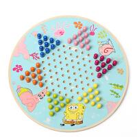 玩具 男孩 玩具女孩海绵宝宝开心跳棋木质玩具儿童玩具 早教益智玩具3-6岁