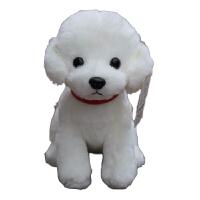 泰迪狗狗毛绒玩具狗公仔女娃娃抱枕趴趴狗玩偶仿真狗耐咬新款小狗 白色 项圈泰迪