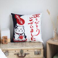 日式抱枕沙发靠垫猫日本办公室腰靠床头靠枕汽车抱枕芯腰枕套 猫
