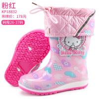20181120144941358HelloKitty儿童雨鞋 女童雨靴加绒宝宝水鞋防滑 公主可爱小孩胶鞋