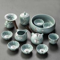 【新品】办公室景德镇鎏银汝窑陶瓷开片可养汝瓷功夫茶具套装盖碗茶杯茶海