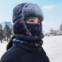 帽子女冬天韩版潮东北户外加厚绒毛雷锋帽保暖护耳骑车防风帽厚