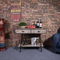 美式乡村复古铁艺框架收纳柜实木桌面做旧工艺置物架客厅玄关柜