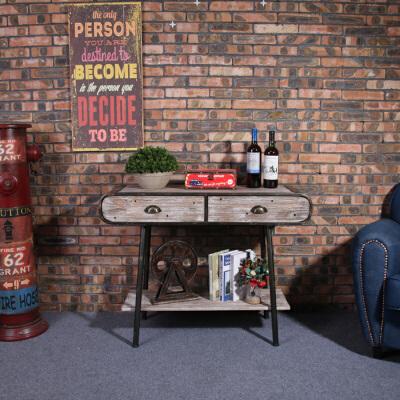 美式乡村复古铁艺框架收纳柜实木桌面做旧工艺置物架客厅玄关柜 发货周期:一般在付款后2-90天左右发货,具体发货时间请以与客服协商的时间为准