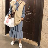 春季韩版女装甜美气质蝴蝶结连衣裙套装+无袖针织马甲背心两件套