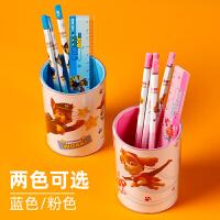 得力多功能笔筒 小学生创意摆件 大容量桌面收纳 可爱儿童笔桶 学生文具用品