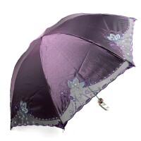 天堂 花之心语 钢骨绣花伞 三折晴雨伞 变色闪布黑胶防晒紫外线 遮阳伞