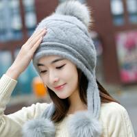 兔毛帽子女冬天户外毛线帽甜美可爱护耳加厚保暖时尚韩版针织帽潮