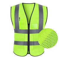 【优选】反光背心马甲安全衣服交通骑行外套环卫工人荧光黄汽车驾驶员