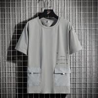 工装五分袖男士短袖t恤韩版潮流打底半袖T夏季薄款宽松休闲体恤衫