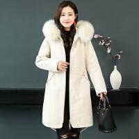 冬加厚羊剪绒大衣女仿狐狸毛领显瘦中长款皮毛一体外套女