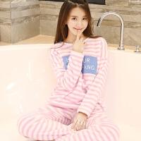 冬季睡衣女韩版加厚法兰绒卡通可爱长袖字母珊瑚绒套头女士家居服