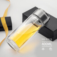 双层玻璃杯水杯大容量过滤个性便携杯子茶水分离泡茶杯 6776本色 400ml