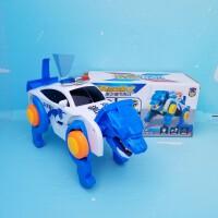 男孩玩具车 儿童玩具 电动灯光音乐未来警车 自动变形机械兽可以走路哦粉红小猪 自动变形未来警车 送电池+贴纸