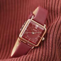 手表女经典复古方形酒红色皮带女表时尚潮流石英表