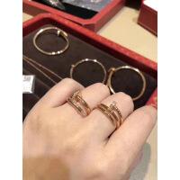 六一儿童节520代购 钉子戒指 18玫瑰金 白金 带钻 对戒 婚戒 镶钻 窄版 带钻 白金金 多圈