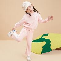 【2件3折秋冬装:99.5】小猪班纳童装2021秋季新款女幼童圆领长袖套装儿童上衣宝宝裤子