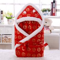 婴儿抱被冬被子新生儿抱被秋冬季婴儿加厚包被宝宝保暖抱毯红色襁褓满月礼物wk-64