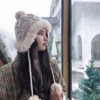 韩版毛线帽子女秋冬季东北雷锋帽保暖护耳加绒兔毛球防风针织帽潮