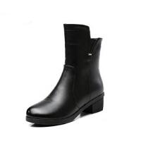 冬季大码防滑保暖妈妈鞋 中老年人女鞋 中年中筒靴方跟女靴 棉鞋加绒