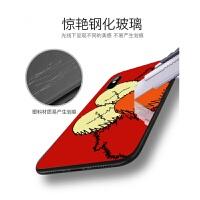 苹果x手机壳新款芝麻街iphone7plus潮牌8p创意iphonex情侣玻璃6s