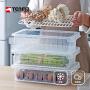 Tenma天马株式会社可沥水冰箱收纳盒果蔬食物保鲜盒厨房整理塑料盒子带盖可叠加