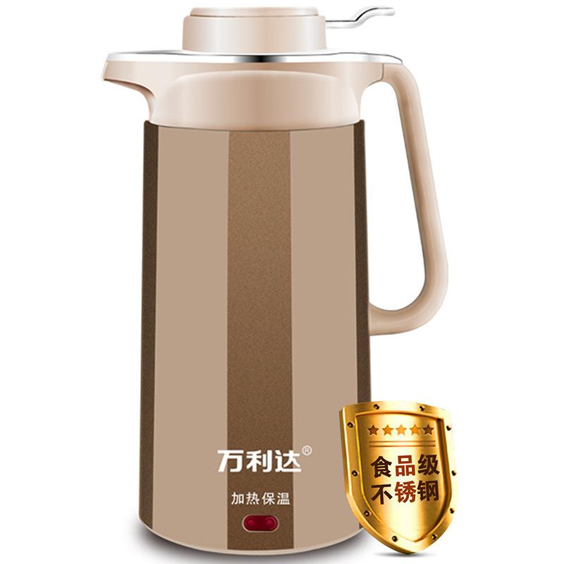 万利达电水壶 保温电热水壶2.5升大容量 双层防烫电水壶 烧水壶不锈钢内胆
