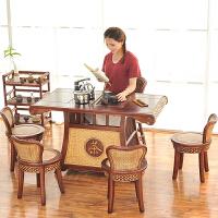 【新品】实木仿古茶桌椅组合藤编功夫茶几茶台茶艺桌喝泡茶桌子创意小茶桌 整装