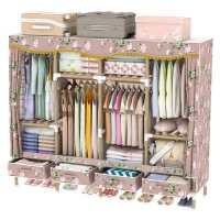 简易布衣柜实木加粗出租房牛津布加厚组装家用卧室木质收纳带抽屉