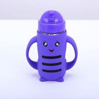【好货】宝宝学饮杯儿童玻璃吸水杯 吸管杯 婴儿水杯 喝水壶防摔硅胶套