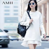 【AMII 超级品牌日】AMII[极简主义]冬新空气层拼百褶雪纺连衣裙11581728