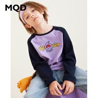 MQD童装男童长袖T恤纯棉大童运动上衣2019秋季新款儿童擦肩袖体恤