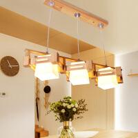北欧实木餐厅吊灯 现代简约木质饭厅灯具日式餐桌灯个性茶楼灯饰