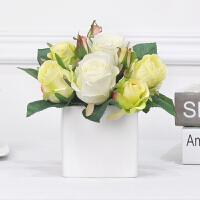 假玫瑰花仿真花束 客厅餐桌卧室装饰花手工假花房间插花花瓶摆件